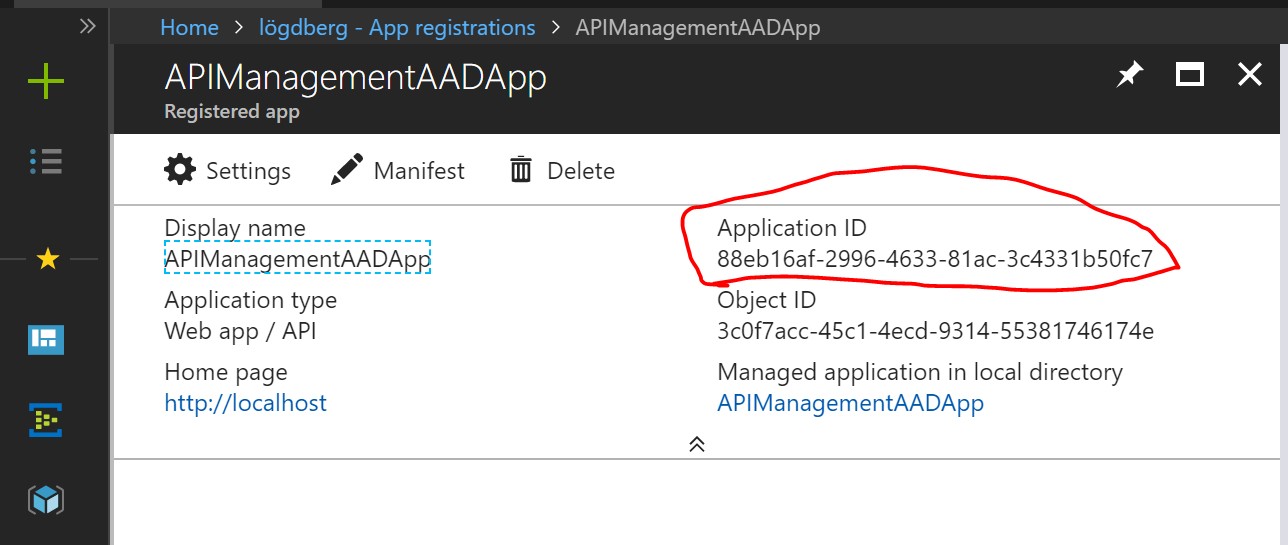 AAD Application id APIManagementAADApp