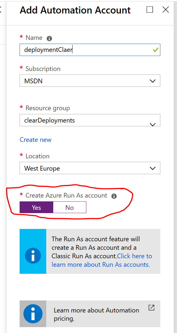 Create Automation aCcount